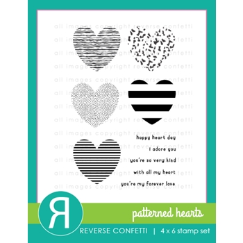 Reverse Confetti PATTERNED HEARTS Clear Stamps