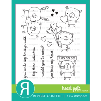 Reverse Confetti HEART PALS Clear Stamps