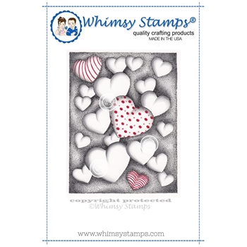 Whimsy Stamps HEARTS FLOATING Cling Stamp DA1100
