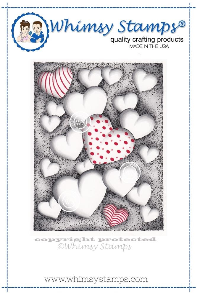 Whimsy Stamps HEARTS FLOATING Cling Stamp DA1100 zoom image