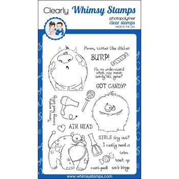 Whimsy Stamps KOOKY MONSTERS Clear Stamps CWSD215