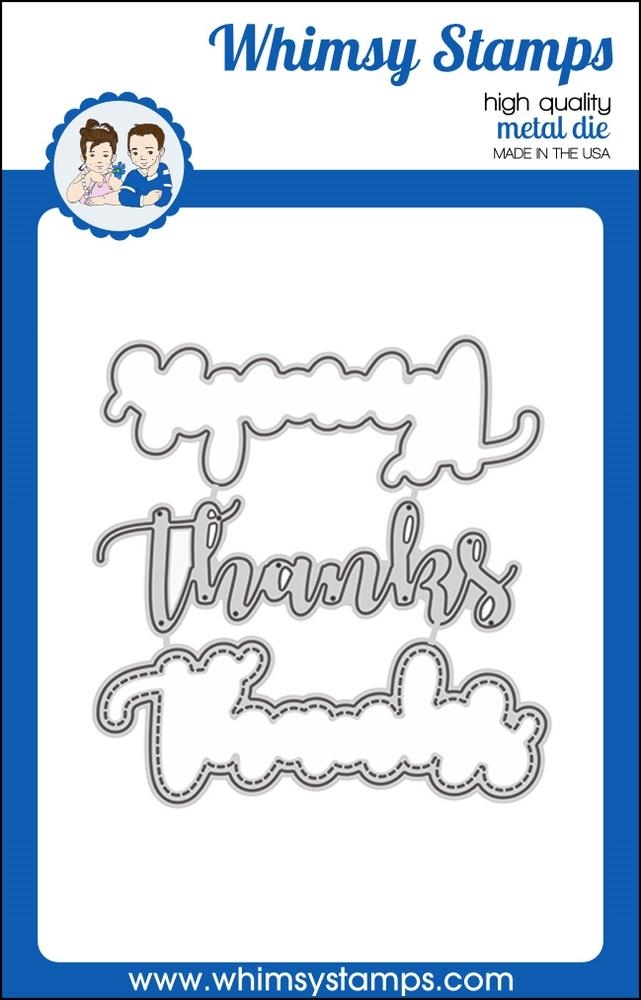 Whimsy Stamps THANKS WORD WITH SHADOW Dies WSD349 zoom image
