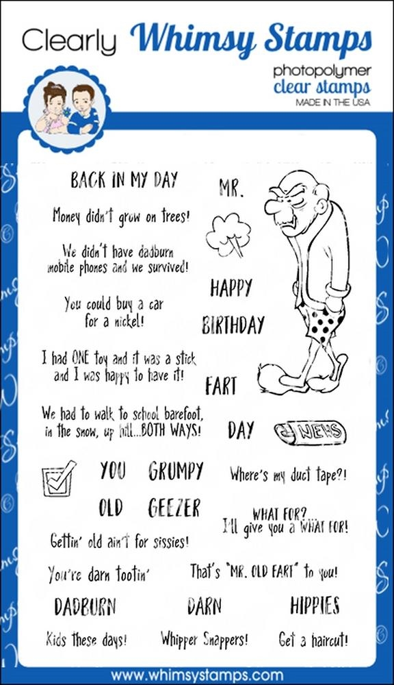 Whimsy Stamps OLD GEEZER Clear Stamps CWSD221 zoom image