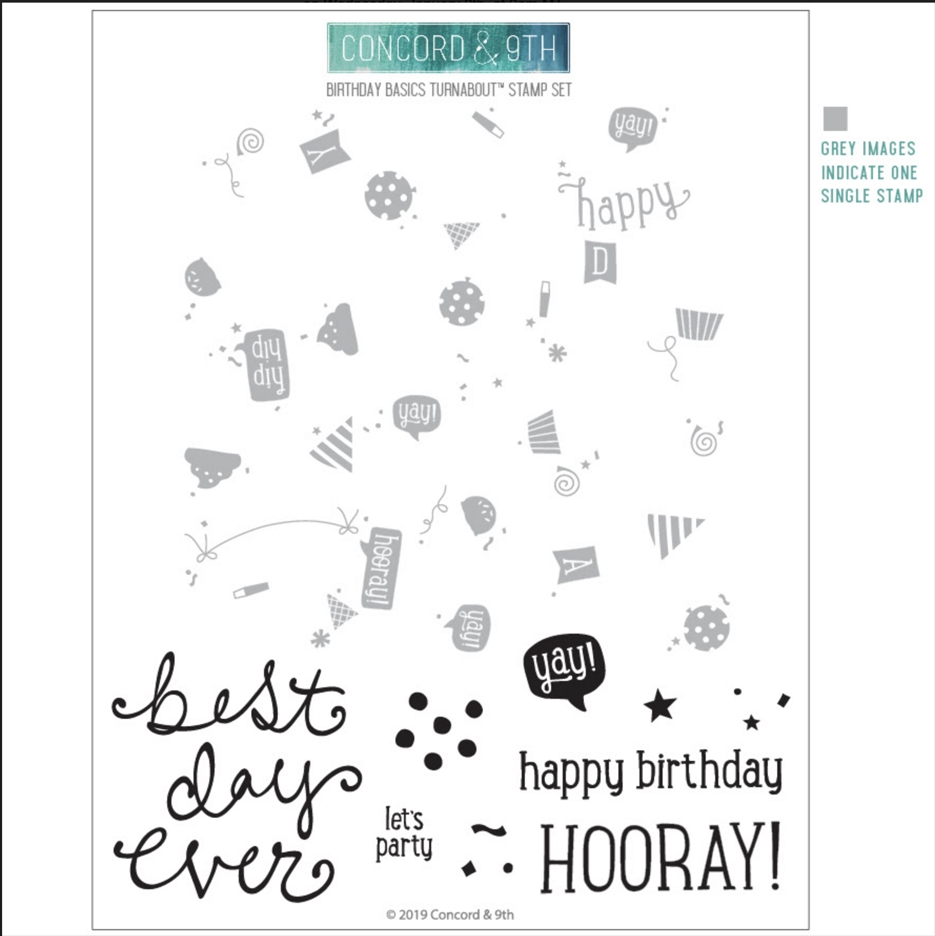 Concord & 9th BIRTHDAY BASICS TURNABOUT Clear Stamp Set 10543 zoom image