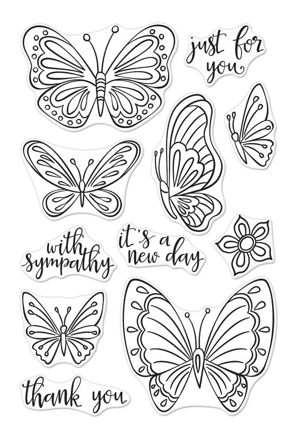 Hero Arts Clear Stamps NEW DAY BUTTERFLIES CM320 zoom image