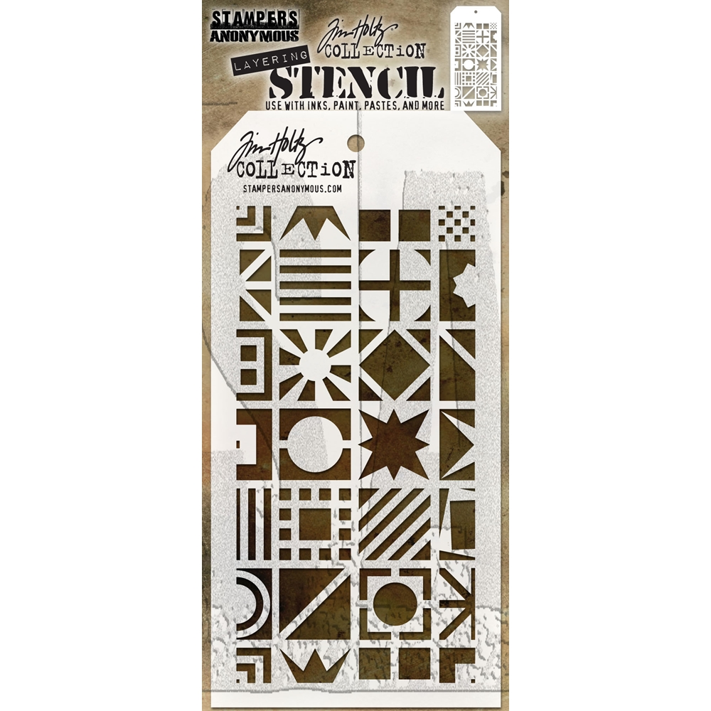 Tim Holtz Layering Stencil PATCHWORK CUBE THS123 zoom image
