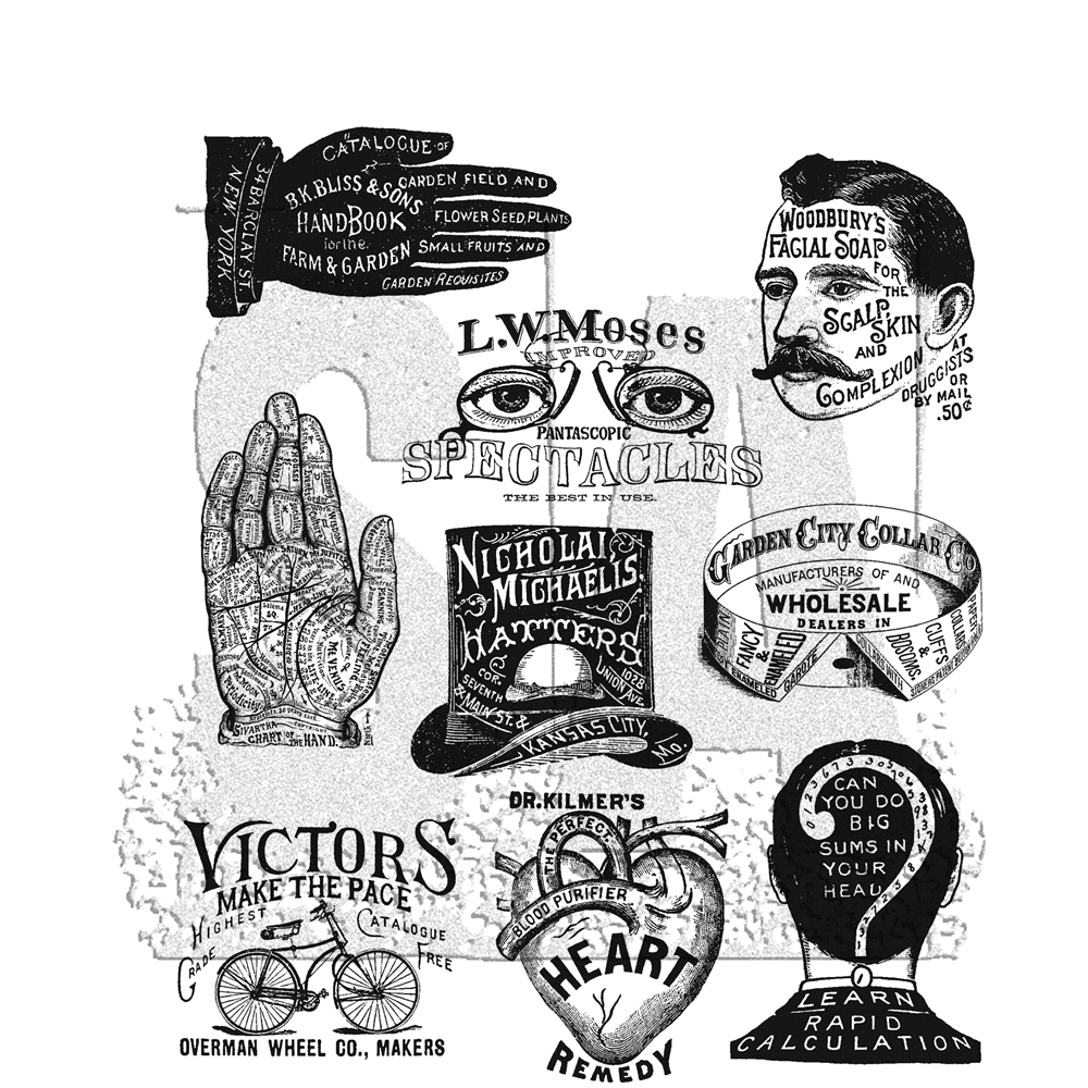 Tim Holtz Cling Rubber Stamps ECLECTIC ADVERTS CMS372 zoom image
