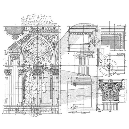 Tim Holtz Cling Rubber Stamps ARCHITECTURE CMS369 Preview Image