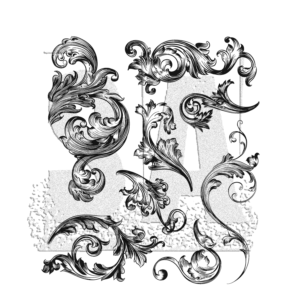Tim Holtz Cling Rubber Stamps SCROLLWORK CMS367 zoom image