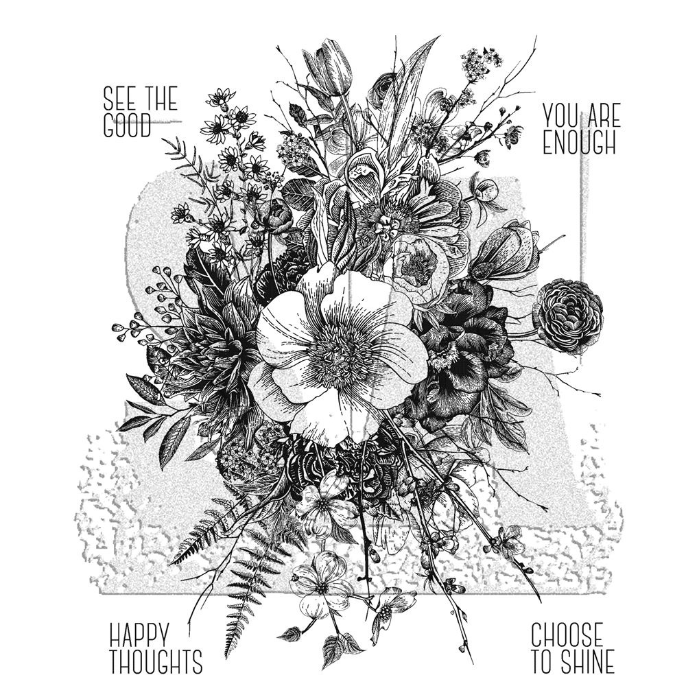 Tim Holtz Cling Rubber Stamps GLORIOUS GARDEN WITH GRID BLOCK CMS366 zoom image