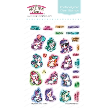 The Greeting Farm UNICORN PLANS Clear Stamps TGF455*