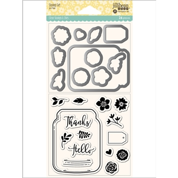 Jillibean Soup MASON JAR Clear Stamp and Die Set jb1764