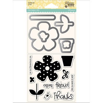 Jillibean Soup FLOWER THANKS Clear Stamp and Die Set jb1804