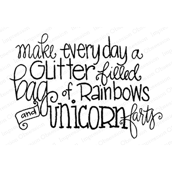Impression Obsession Cling Stamp RAINBOWS AND UNICORNS D19899
