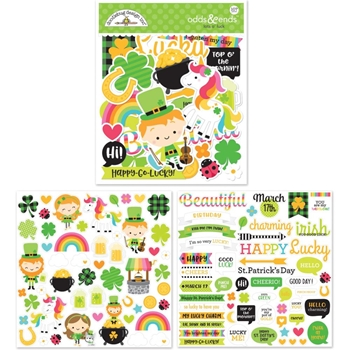 Doodlebug LOTS O' LUCK Odds and Ends Die Cut Shapes 6249*