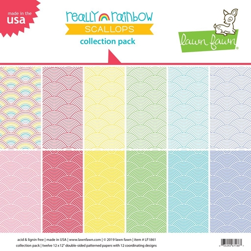 Lawn Fawn REALLY RAINBOW SCALLOPS 12x12 Collection Pack LF1861 Preview Image