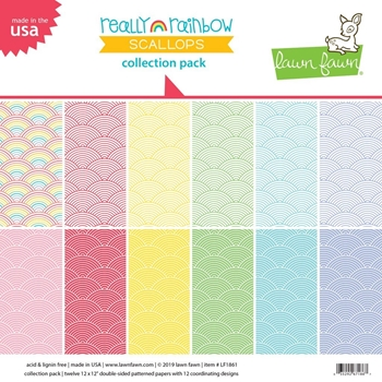 Lawn Fawn REALLY RAINBOW SCALLOPS 12x12 Collection Pack LF1861*