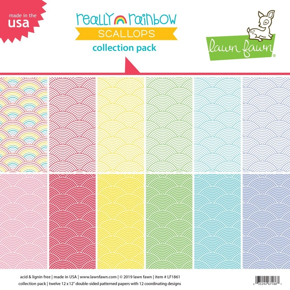 Lawn Fawn REALLY RAINBOW SCALLOPS 12x12 Collection Pack LF1861 zoom image