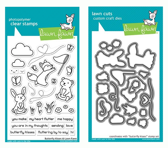 Lawn Fawn SET BUTTERFLY KISSES Clear Stamps and Dies LF19BK zoom image