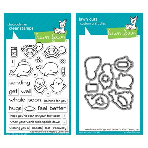 Lawn Fawn SET GET WELL BEFORE 'N AFTERS Clear Stamps and Dies LF19GWB Preview Image