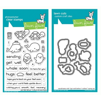 Lawn Fawn SET GET WELL BEFORE 'N AFTERS Clear Stamps and Dies LF19GWB*