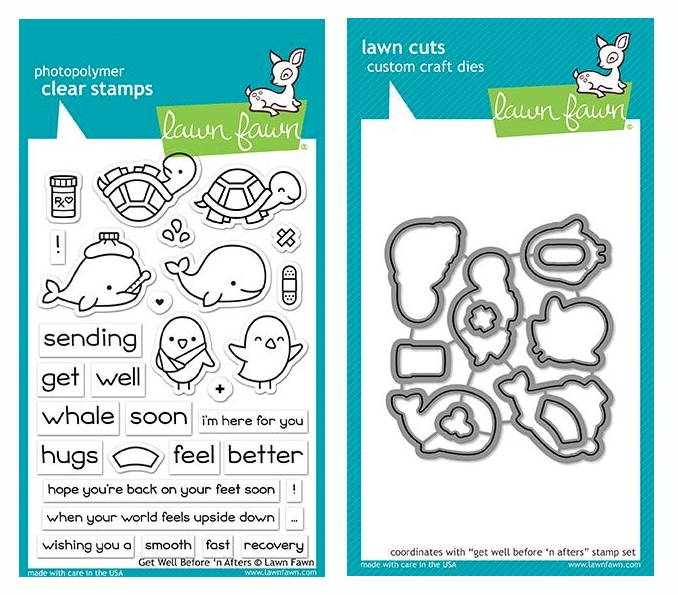 Lawn Fawn SET GET WELL BEFORE 'N AFTERS Clear Stamps and Dies LF19GWB zoom image