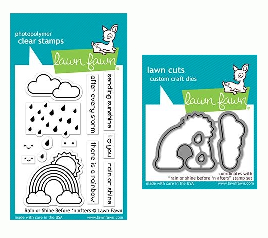 Lawn Fawn SET RAIN OR SHINE BEFORE 'N AFTERS Clear Stamps and Dies LF19ROS zoom image