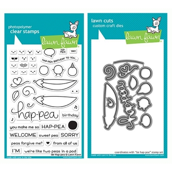 Lawn Fawn SET BE HAP-PEA Clear Stamps and Dies LF19BHP