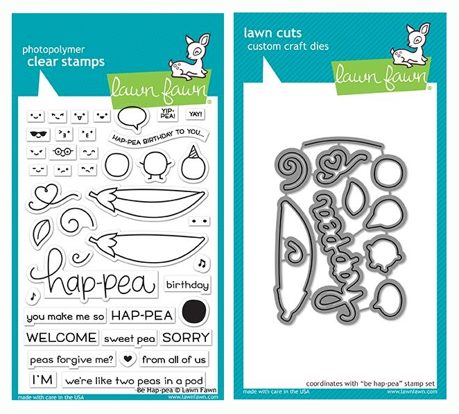 Lawn Fawn SET BE HAP-PEA Clear Stamps and Dies LF19BHP zoom image