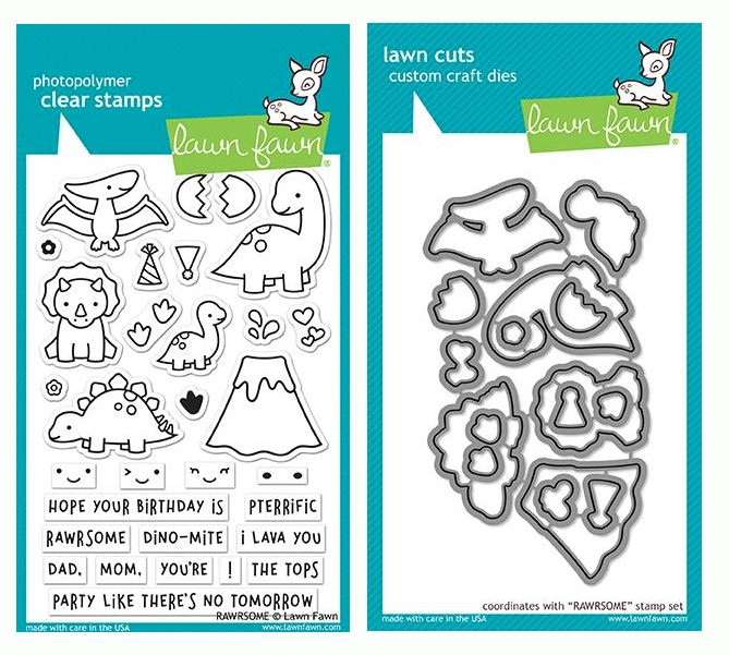 Lawn Fawn SET RAWRSOME Clear Stamps and Dies LF19SRM zoom image