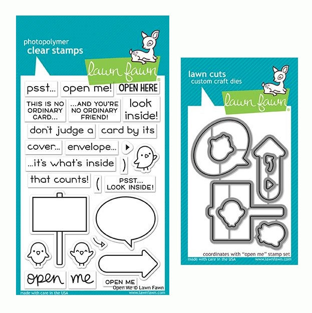 Lawn Fawn SET OPEN ME Clear Stamps and Dies LF19OM zoom image