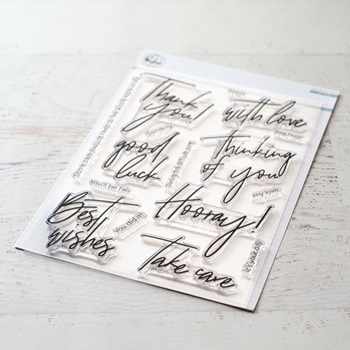 PinkFresh Studio SCRIPTED BOLD SENTIMENTS 1 Clear Stamp Set pfcs0319