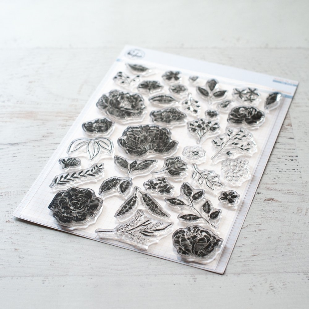Pinkfresh Studio EMBROIDERED BLOSSOMS Clear Stamp Set pfcs0719 zoom image