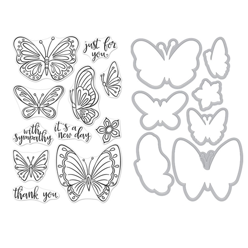 Hero Arts NEW DAY BUTTERFLIES CLEAR STAMP & DIE COMBO SB222 Preview Image