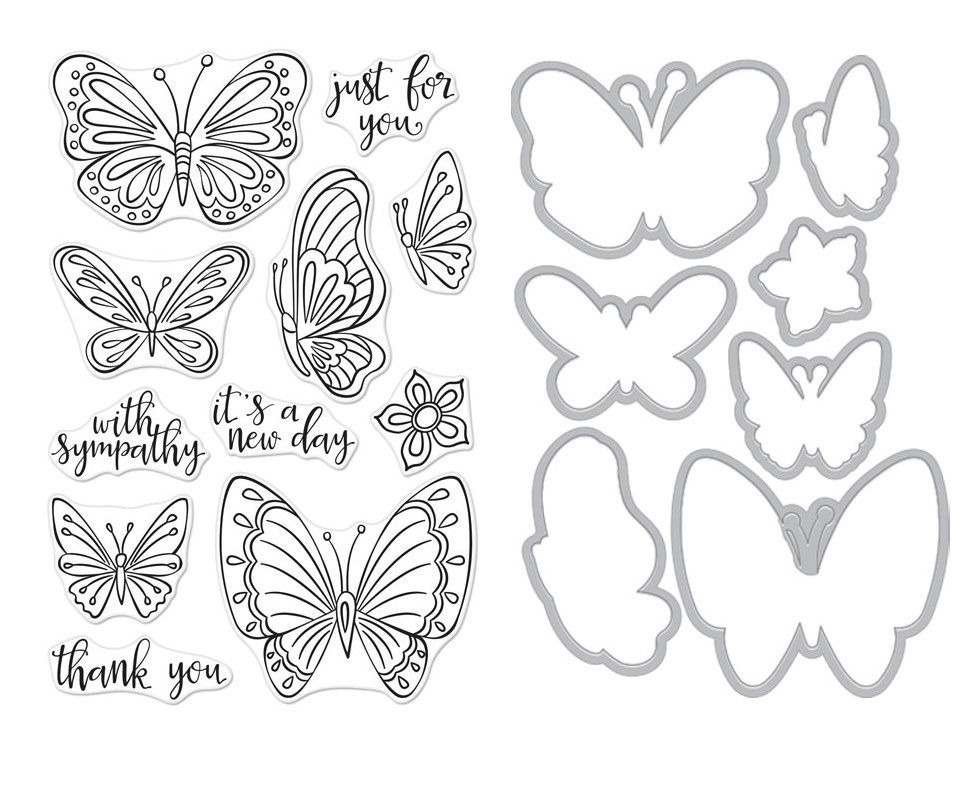 Hero Arts NEW DAY BUTTERFLIES CLEAR STAMP & DIE COMBO SB222 zoom image