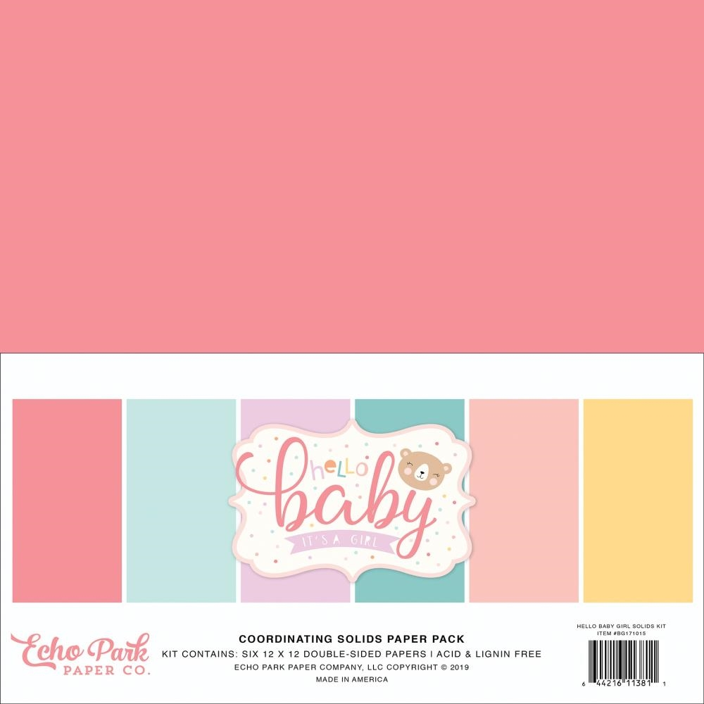 Echo Park HELLO BABY GIRL 12 x 12 Double Sided Solids Paper Pack bg171015 zoom image