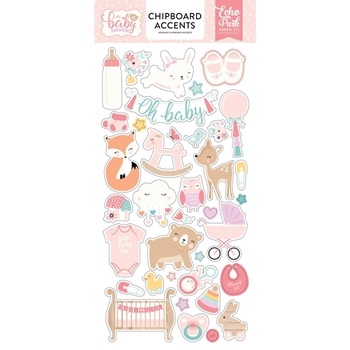 Echo Park HELLO BABY GIRL Chipboard Accents obg171021