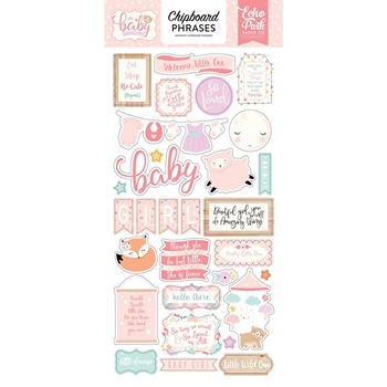 Echo Park HELLO BABY GIRL Chipboard Phrases obg171022