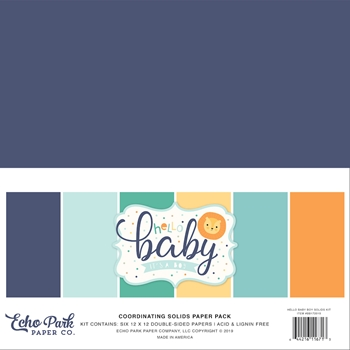 Echo Park HELLO BABY BOY 12 x 12 Double Sided Solids Paper Pack bb172015