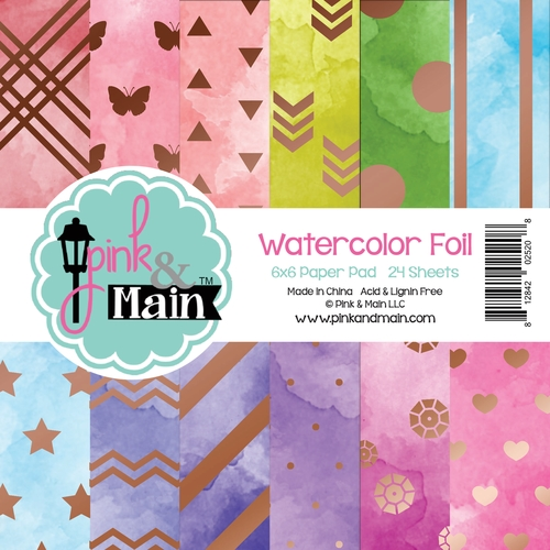 Pink and Main 6x6 Watercolour Foil Paper Pack