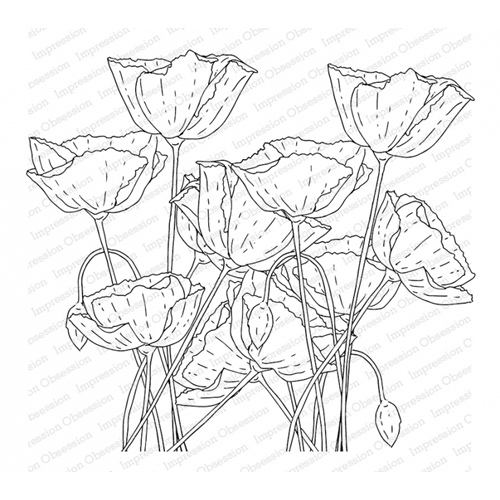 Impression Obsession Cling Stamp POPPY FIELD L13752 Preview Image