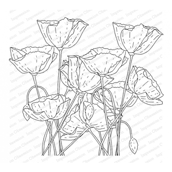 Impression Obsession Cling Stamp POPPY FIELD L13752