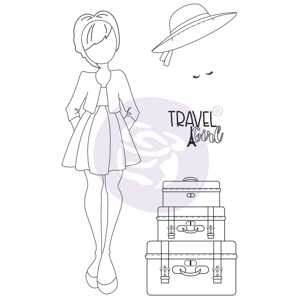 Prima Marketing MADELINE Cling Stamps Julie Nutting Traveling Girl 912932 zoom image