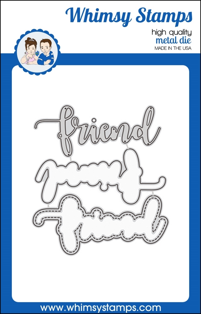 Whimsy Stamps FRIEND WORD WITH SHADOW Dies WSD366 zoom image