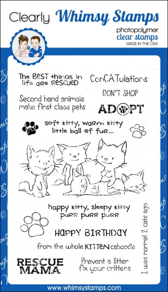 Whimsy Stamps ADOPT DON'T SHOP CATS Clear Stamps CWSD223 zoom image