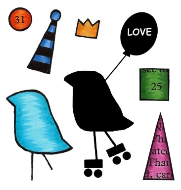 Inky Antics ROLLER BIRD Clear Stamp Set 11436sc Preview Image