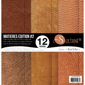 Carabelle Studio MATERIAL EDITION 2 LEATHER 12x12 Paper setbasilike08