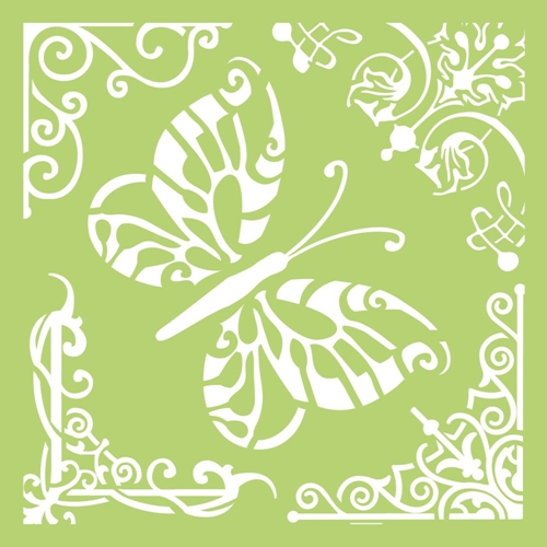 Kaisercraft BUTTERFLY CORNERS 6x6 Inch Designer Stencil Template IT484 Preview Image