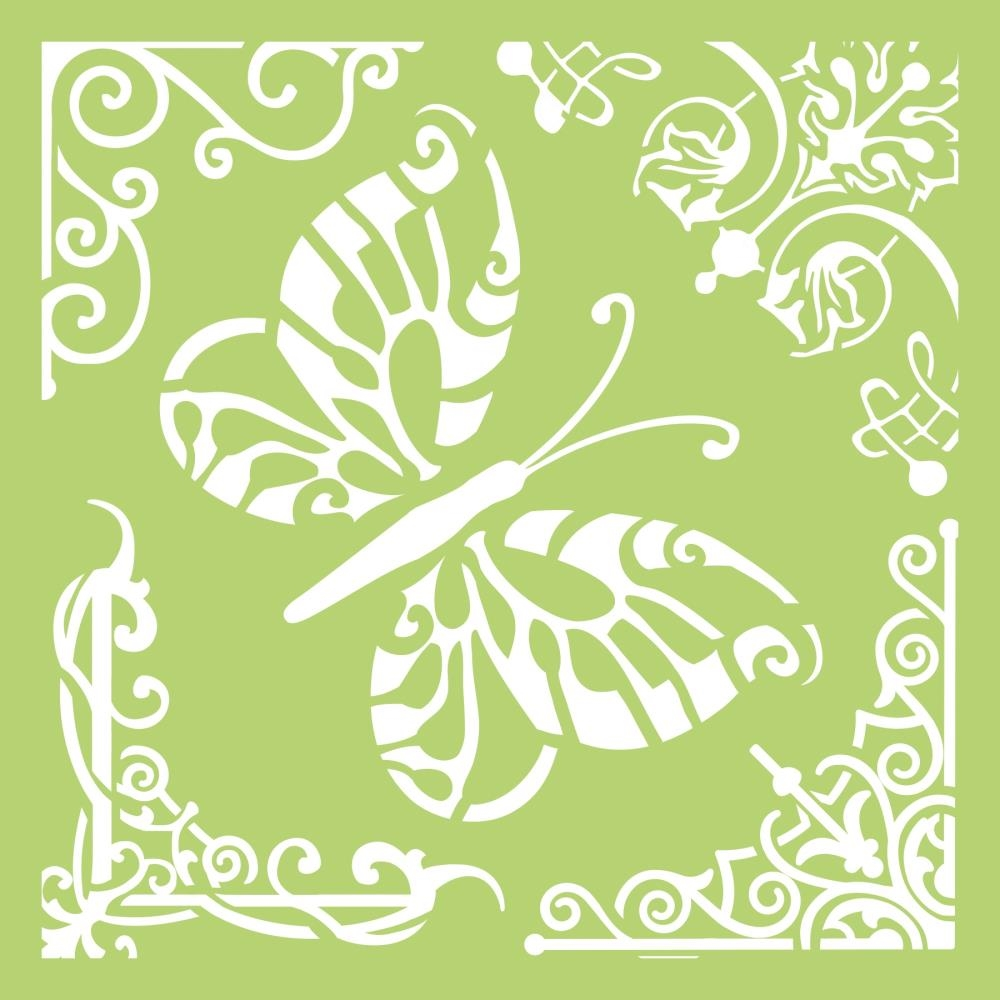 Kaisercraft BUTTERFLY CORNERS 6x6 Inch Designer Stencil Template IT484 zoom image