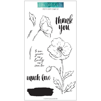 Concord & 9th PRETTY POPPIES Clear Stamp Set 10558